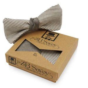 ZB Savoy Pinstriped Bow Tie & Pocket Square Set